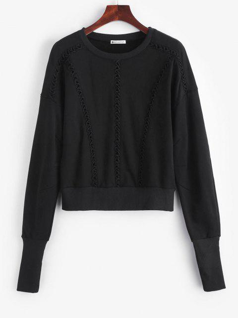 trendy Elongating Sleeve Crisscross Sweatshirt - BLACK S Mobile