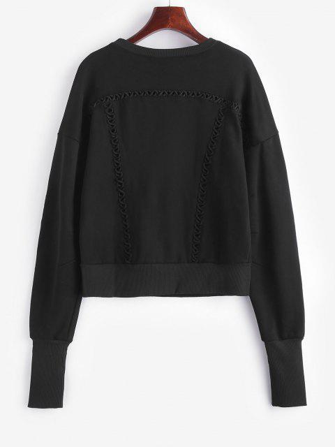 women Elongating Sleeve Crisscross Sweatshirt - BLACK M Mobile