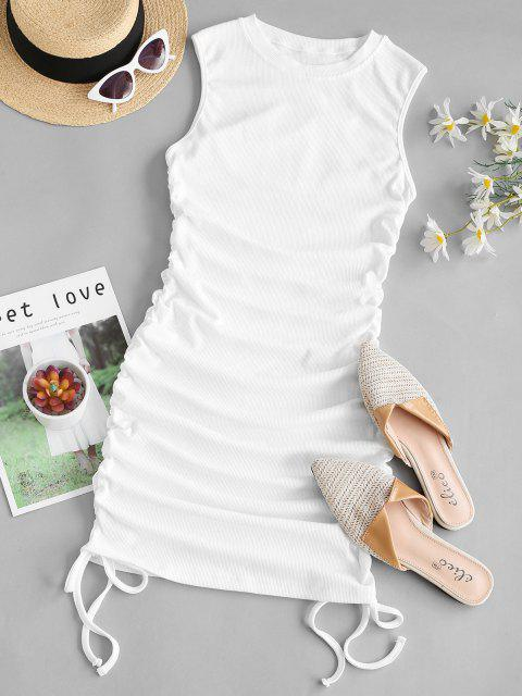 fancy Ribbed Cinched Side Tank Dress - WHITE M Mobile