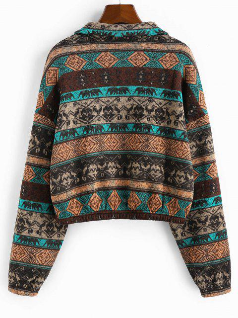 unique ZAFUL Ethnic Elephant Geo Print Drop Shoulder Quarter Zip Sweatshirt - MULTI-A XL Mobile