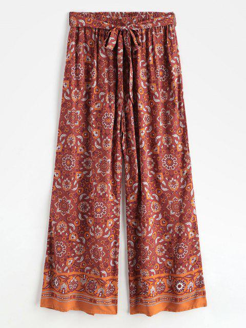 best Bohemian Printed Belted Wide Leg Pants - RED S Mobile