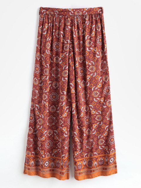Böhmische Gedruckte Hose mit Weitem Bein und Gürtel - Rot M Mobile