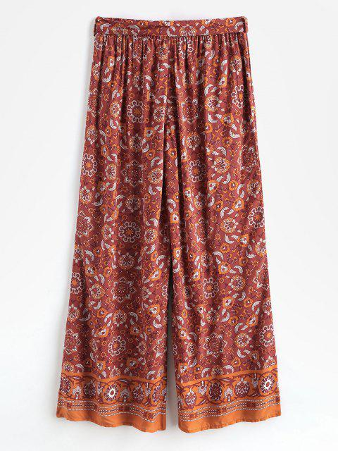 fancy Bohemian Printed Belted Wide Leg Pants - RED L Mobile