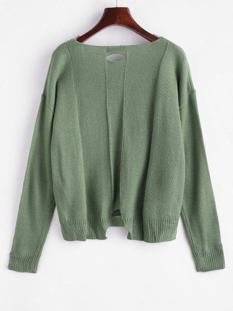 online V Neck Cutout High Low Sweater - PEA GREEN ONE SIZE Mobile