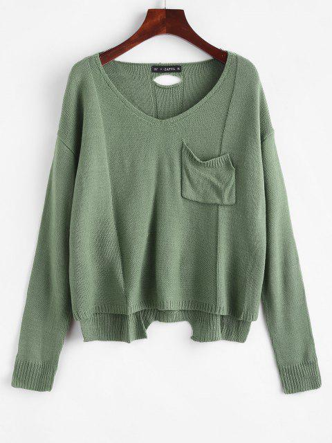 V-Ausschnitt Hoch Niedriger Pullover - Erbsengrün Eine Größe Mobile