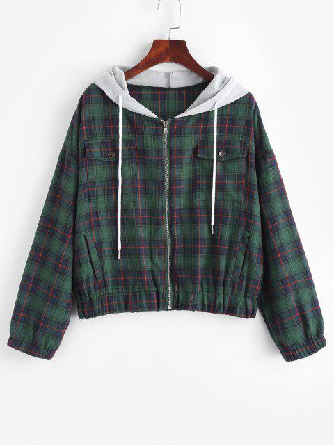 online Flannel Plaid Tartan Zip Up Combo Jacket - DEEP GREEN M Mobile