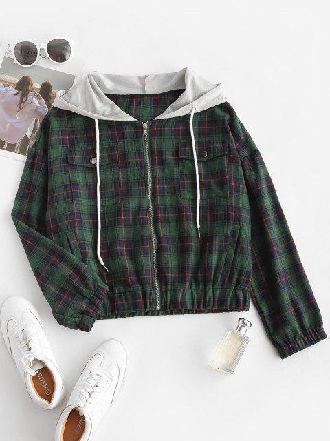 Flannel Plaid Tartan Zip Up Combo Jacket - ديب غرين S Mobile