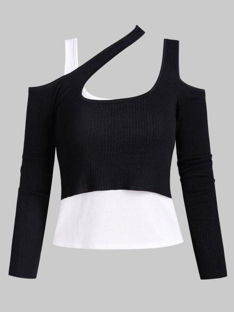 outfit Knitted Cold Shoulder Layered Ribbed Tee - BLACK ONE SIZE Mobile