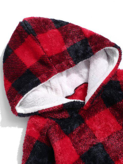 trendy ZAFUL Plaid Pattern Fluffy Long Blanket Hoodie - RED L Mobile