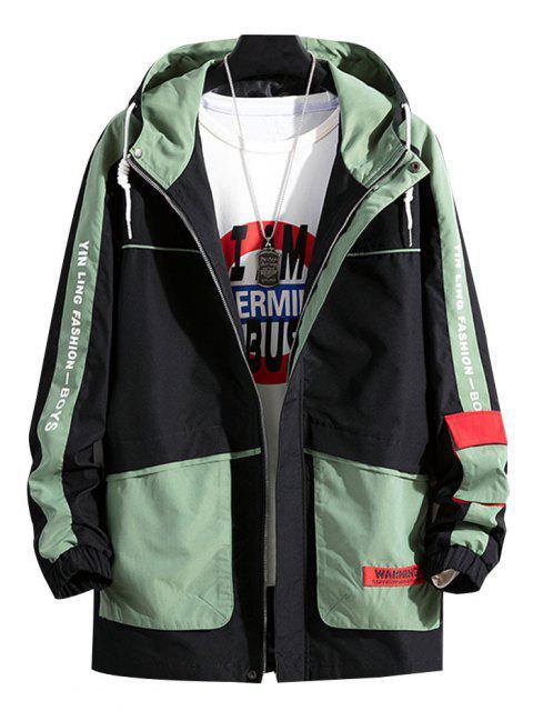 online Colorblock Letter Pattern Hooded Jacket - MEDIUM AQUAMARINE S Mobile