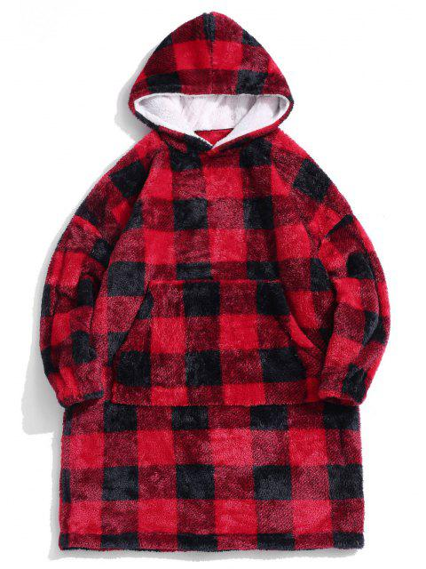 new ZAFUL Plaid Pattern Fluffy Long Blanket Hoodie - RED S Mobile