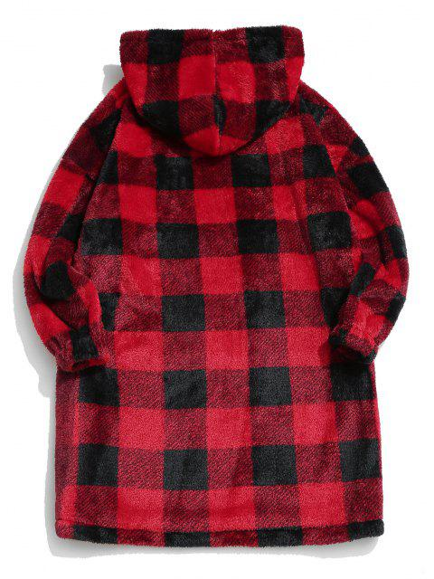 ZAFUL Kariertes Muster Flauschige Lange Decke - Rot S Mobile