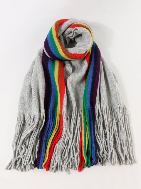 latest Rainbow Color Stripe Knitted Fringe Scarf - LIGHT SLATE GRAY  Mobile