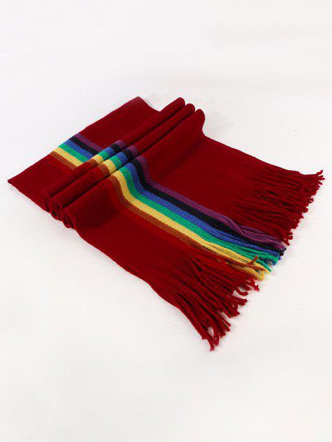 Regenbogen Farbe Streifen Gestrickter Schal - Roter Wein  Mobile