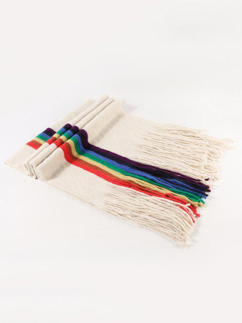 Cachecol Listrado de Malha com Franjas de Arco-íris - Bege  Mobile