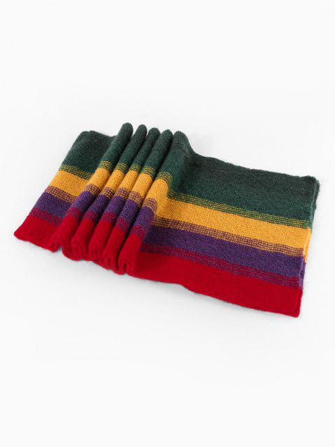 Colorblock Striped Knitted Scarf - متعددة-A  Mobile