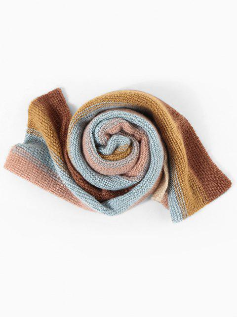 buy Colorblock Striped Knitted Scarf - MULTI-C  Mobile