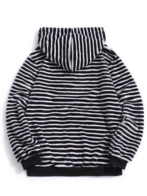 trendy Quarter Zip Striped Faux Fur Fluffy Hoodie - BLACK S Mobile