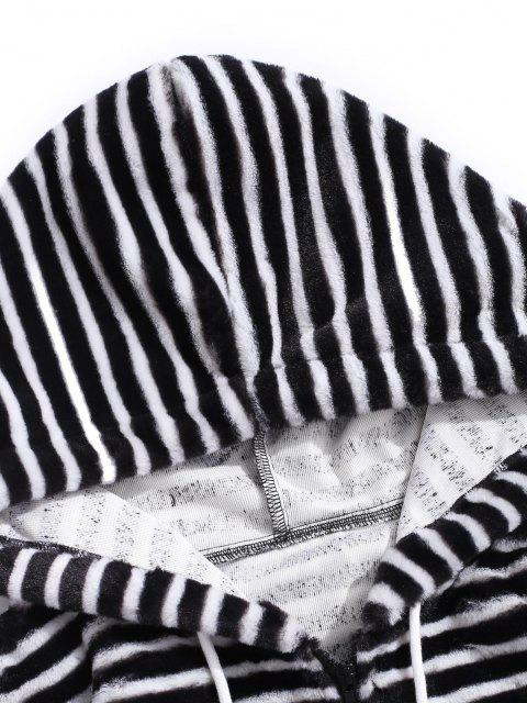fancy Quarter Zip Striped Faux Fur Fluffy Hoodie - BLACK L Mobile