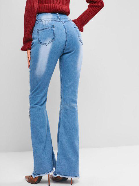 shop High Waisted Frayed Overlap Flare Jeans - BLUE M Mobile