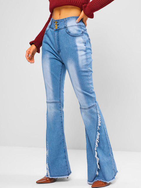 shop High Waisted Frayed Overlap Flare Jeans - BLUE M Mobile