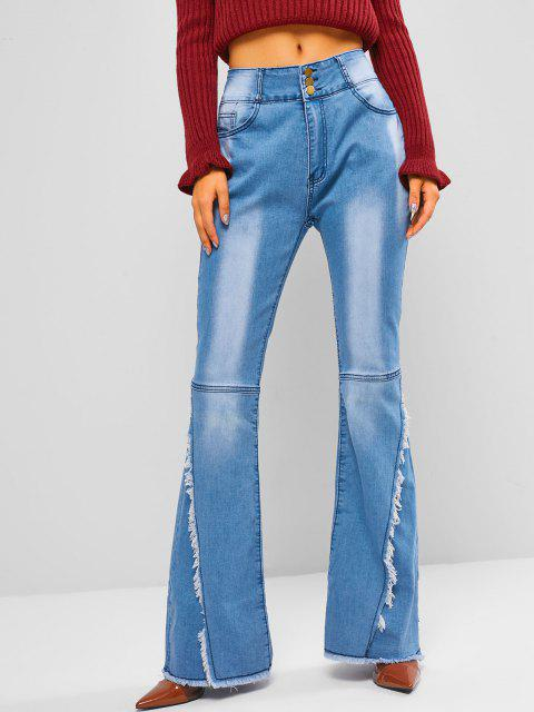 women's High Waisted Frayed Overlap Flare Jeans - BLUE L Mobile
