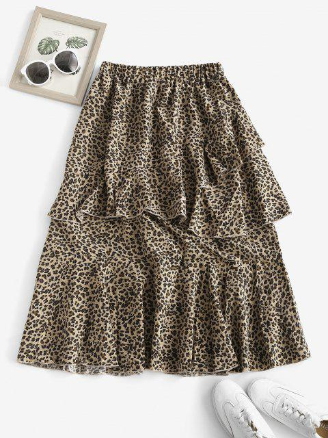 ladies Leopard Animal Print Layered Flounce Skirt - COFFEE L Mobile