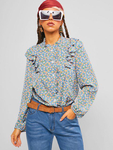 online ZAFUL Ditsy Print Ruffle Shirt - LIGHT BLUE XL Mobile