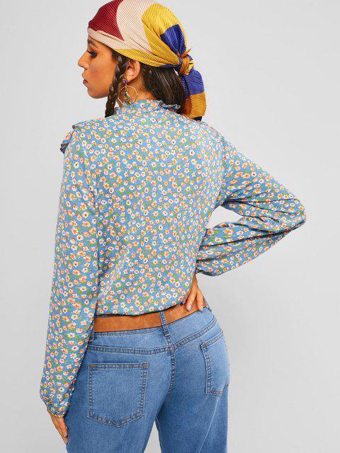 hot ZAFUL Ditsy Print Ruffle Shirt - LIGHT BLUE S Mobile