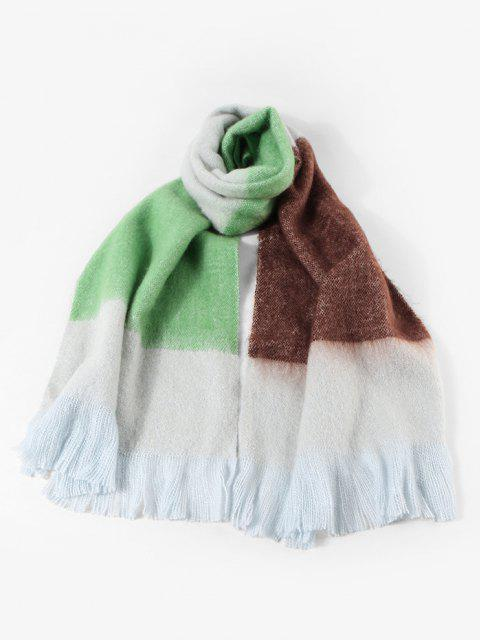 outfit Winter Faux Cashmere Colorblock Fringe Scarf - YELLOW GREEN  Mobile