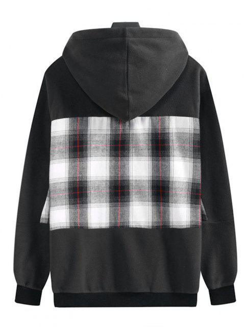 latest Plaid Patchwork Front Pocket Fleece Hoodie - DARK SLATE GREY XL Mobile