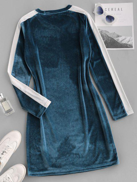 lady Contrast Two Tone Velvet Bodycon Long Sleeve Dress - BLUE S Mobile