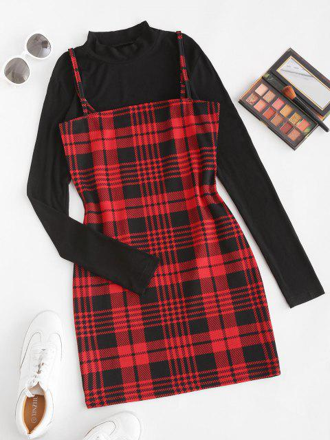ladies Plaid Bodycon Cami Dress with Rib Top - RED WINE M Mobile