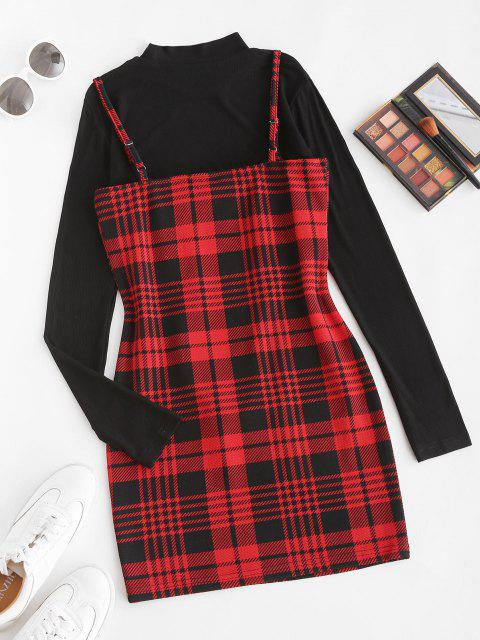 lady Plaid Bodycon Cami Dress with Rib Top - RED WINE L Mobile