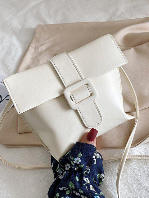 womens Buckle Cover Square Crossbody Bag - WHITE  Mobile