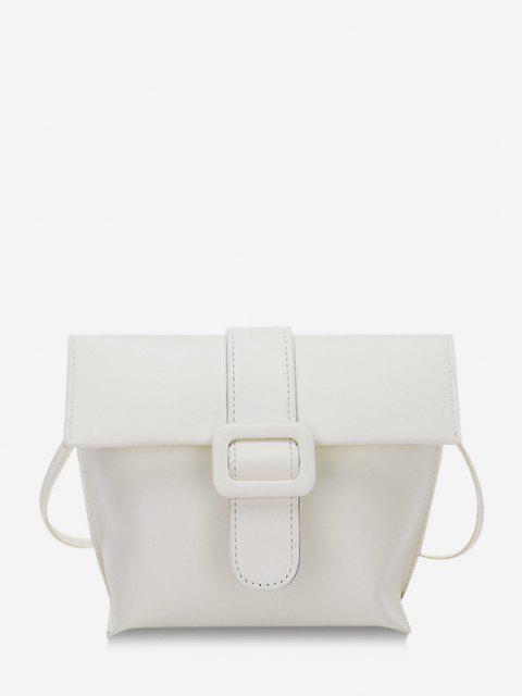 Buckle Cover Square Crossbody Bag - أبيض  Mobile