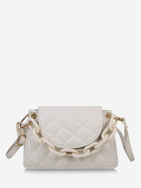 women's Rhombus Pattern Solid Quilted Crossbody Bag - WHITE  Mobile