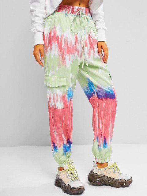 shop ZAFUL Tie Dye High Waisted Cargo Pants - MULTI S Mobile