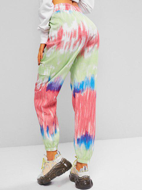 trendy ZAFUL Tie Dye High Waisted Cargo Pants - MULTI M Mobile
