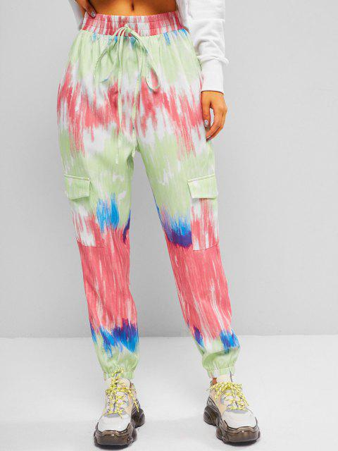 shops ZAFUL Tie Dye High Waisted Cargo Pants - MULTI L Mobile