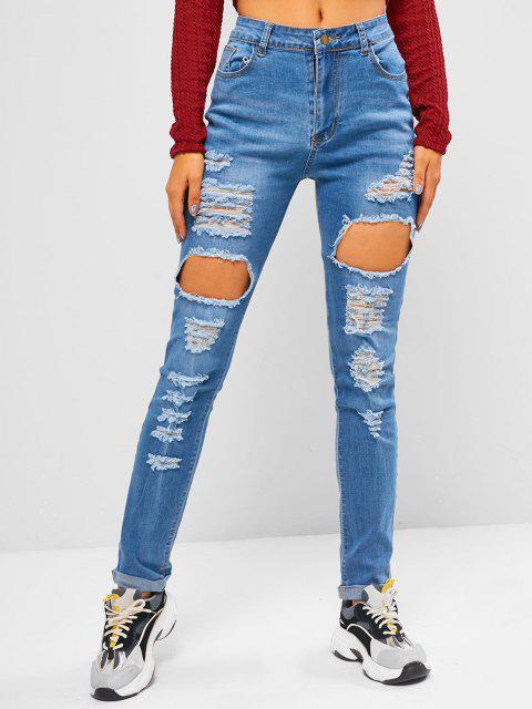 women Destroyed Cuff Hem Skinny Jeans - BLUE L Mobile
