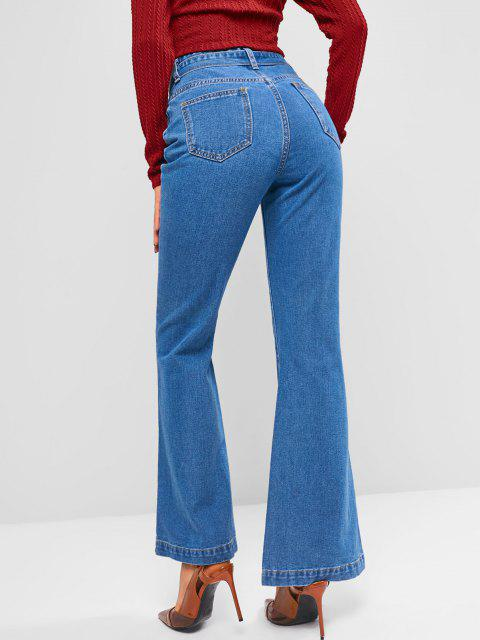 hot Medium Wash Belted High Waisted Flare Jeans - BLUE S Mobile