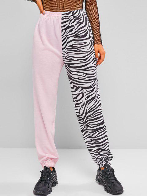Pantaloni Sportivi a Blocchi di Colore con Stampa Zebra di ZAFUL - Rosa chiaro M Mobile