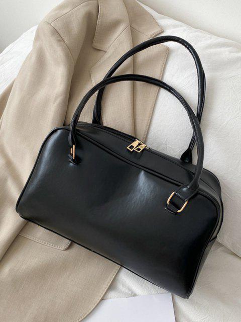 shop Brief Solid PU Shoulder Bag - BLACK  Mobile