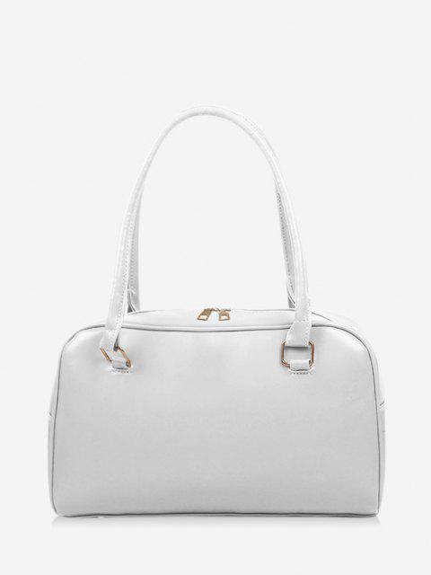 shops Brief Solid PU Shoulder Bag - WHITE  Mobile