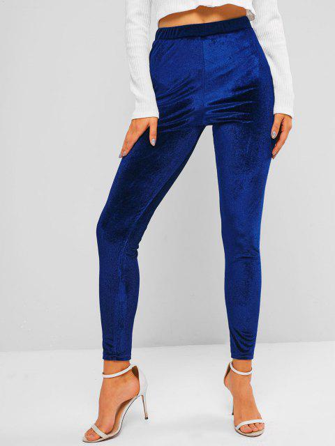 Legging Moulant en Tissu à Taille Haute en Velours - Bleu profond S Mobile