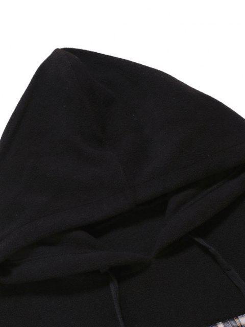 fashion Plaid Patchwork Panel Fleece Hoodie - BLACK L Mobile