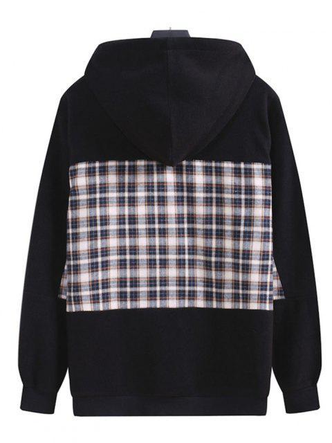 trendy Plaid Patchwork Panel Fleece Hoodie - BLACK M Mobile