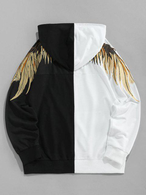 chic ZAFUL Wings Embroidered Kangaroo Pocket Contrast Hoodie - MULTI L Mobile