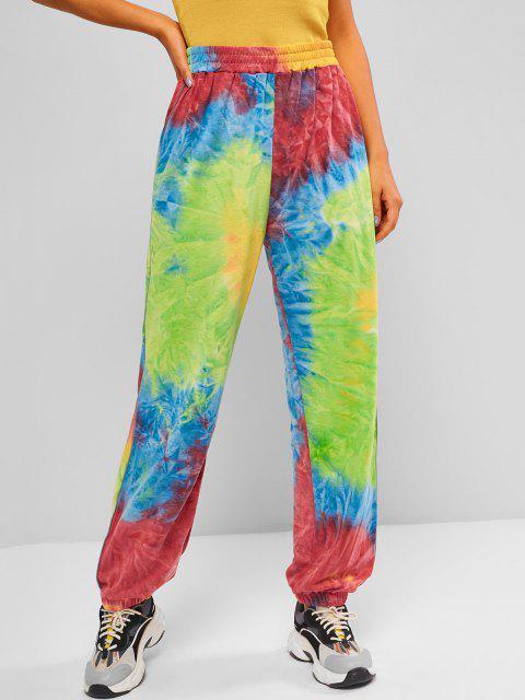 women's High Waisted Tie Dye Jogger Sweatpants - MULTI L Mobile